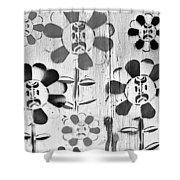 Flower Face B W Shower Curtain