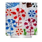 Flower Face Murial Shower Curtain