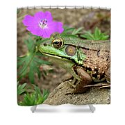 Flower, Frog, Fly Shower Curtain