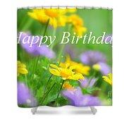 Flower Garden Birthday Card Shower Curtain