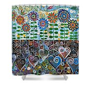 Flower Garden Blues Shower Curtain