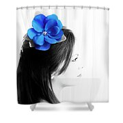 Flower Girl Blue Selective Colour Shower Curtain