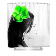 Flower Girl Green Selective Colour Shower Curtain