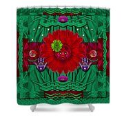 Flower Girl With Sunrose In Her Hair And Pandabears Shower Curtain