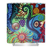 Flower Goyle With Grapes Shower Curtain by Genevieve Esson