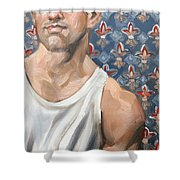 Flower Of Louis, 11x14 Inches Ol On Panel By Kenney Mencher  Shower Curtain
