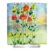 Flower Patch With Butterfly Shower Curtain