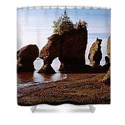 Flower Pot Rocks On The Beach, Hopewell Shower Curtain