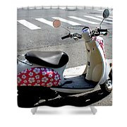 Flower Power For A Montreal Motor Scooter Shower Curtain