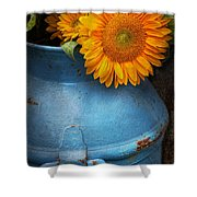 Flower - Sunflower - Little Blue Sunshine  Shower Curtain