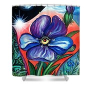 Flower With Eye. Plant From Space Shower Curtain