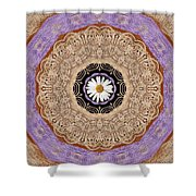 Flower With Wood Embroidery Shower Curtain