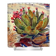 Flowering Opuntia Shower Curtain