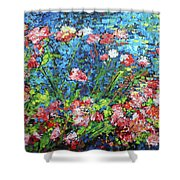 Flowering Shrub In Pink On Bright Blue 201676 Shower Curtain