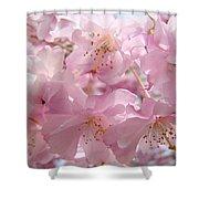 Flowering Tree Art Prints Spring Pink Blossom Flowers Baslee Shower Curtain