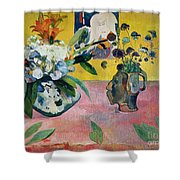 Flowers And A Japanese Print Shower Curtain by Paul Gauguin