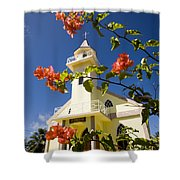 Flowers And Church On Takapoto Atoll Shower Curtain