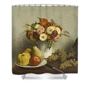 Flowers And Fruit 1865 Shower Curtain