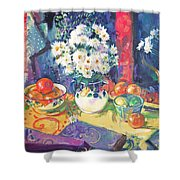 Flowers And Fruit In A Green Bowl Shower Curtain