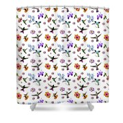 Flowers And Hummingbirds 1 Shower Curtain