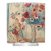 Flowers And Porcelain Shower Curtain