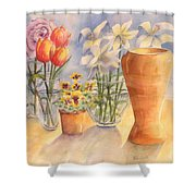 Flowers And Terra Cotta Shower Curtain