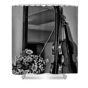 Flowers And Violin In Black And White Shower Curtain