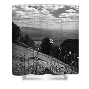 Flowers At Table Rock Overlook In Black And White Two Shower Curtain