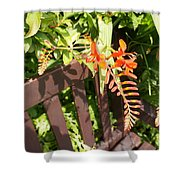 Flowers' Bench Shower Curtain