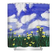 Flowers Bright Field Shower Curtain