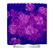 Flowers, Buttons And Ribbons -shades Of  Blue To Fuchsia Shower Curtain