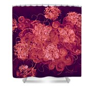 Flowers, Buttons And Ribbons -shades Of Burbundy Rose Shower Curtain