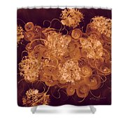 Flowers, Buttons And Ribbons -shades Of Burnt Umber Shower Curtain