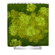 Flowers, Buttons And Ribbons -shades Of Chartreuse Shower Curtain