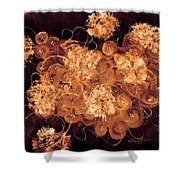 Flowers, Buttons And Ribbons -shades Of  Chocolate Mocha Shower Curtain