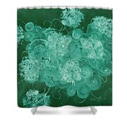 Flowers, Buttons And Ribbons -shades Of Green Shower Curtain