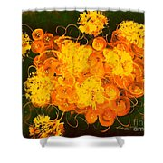 Flowers, Buttons And Ribbons -shades Of Orange/yellow  Shower Curtain
