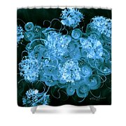 Flowers, Buttons And Ribbons -shades Of  Turquoise Shower Curtain