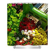 Flowers By Green Bench Shower Curtain