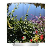 Flowers By The Pond Shower Curtain