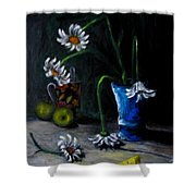 Flowers Camomiles Still Life Acrylic Painting Shower Curtain