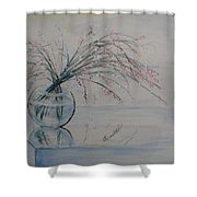 Flowers Glass Water And Mirror Shower Curtain