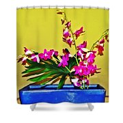 Flowers In A Blue Dish - Japanese House Shower Curtain