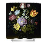 Flowers In A Glass Vase Shower Curtain