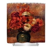 Flowers In A Green Vase Dahlilas And Asters Shower Curtain
