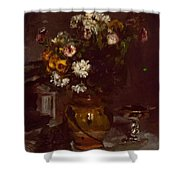 Flowers In A Vase And A Glass Of Champagne Shower Curtain