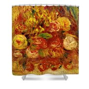 Flowers In A Vase With Blue Decoration Shower Curtain