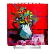 Flowers In Blue Green Pitcher Shower Curtain