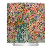 Flowers In Crystal Vase. Shower Curtain