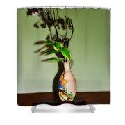 Flowers In Japanese Vase Shower Curtain